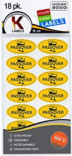 Passover Labels 18 Pack English - Oven Proof, Freezable, Microwaveable and Dishwasher Safe Stickers - Pesach Seder and Kitchen Accessories by The Kosher Cook