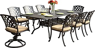 Darlee 201630-9PC-30SL Ocean View Cast Aluminum 9 Piece Rectangle Dining Set and Seat Cushions, 42