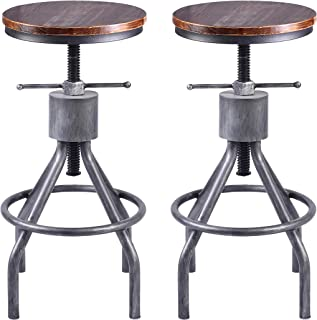 LOKKHAN Vintage Industrial Bar Stool-Height Adjustable Round Wood and Metal Swivel Bar Stool,Cast Iron Pub Height Stool,Assembly Not Required,23.4-33 inch(Set of 2)
