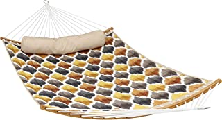 Sunnydaze Quilted 2-Person Hammock with Curved Bamboo Spreader Bars, Heavy-Duty 450-Pound Weight Capacity, Gold and Bronze Quatrefoil