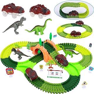 FiGoal Dinosaur Race Track Toy Set 153 Pieces with Bonus Electric Dinosaur Car, Flexible Tracks, 2 Dinosaur Race Cars, Per...