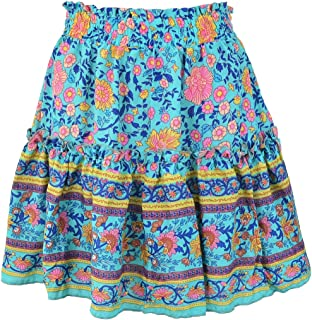 GAGA Womens Boho Floral High Waist Drawstring Pleated Ruffle Flared Boho A-Line Skater Mini Skirt