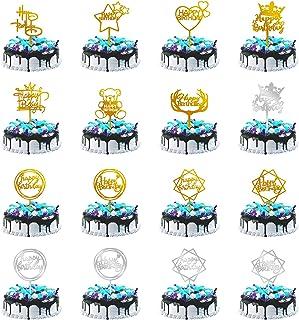 16 Pièces Happy Birthday Cake Topper, KEELYY Décoration de Gâteaux Fête Décorations, Acrylique Paillettes Cupcake Toppers ...