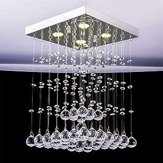 Fashionou Modern K9 Crystal Raindrop Chandelier Lighting Flush Mount LED Ceiling Light Fixture Pendant Lamp Included 4 LED Light Sources for Dining Room Bathroom Bedroom Livingroom D9.8 H15.4 Inch
