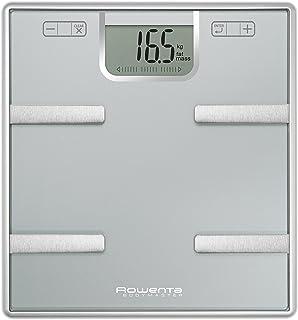 Rowenta Bodymaster BR6010V0 - Báscula de grasa corporal de cristal, capacidad de hasta 160 kg, apagado automático, pilas incluídas