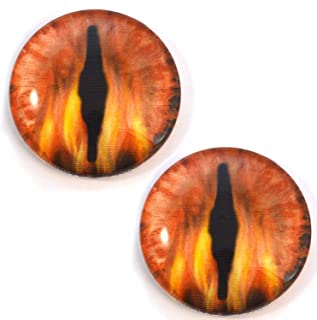 Fire Dragon Animated Glass Eyes Holographic Flaming Cabochon Pair for Art Dolls, Sculptures, Props, Masks, Cosplay, Decor Props, Jewelry Making, Taxidermy, and More (40mm)