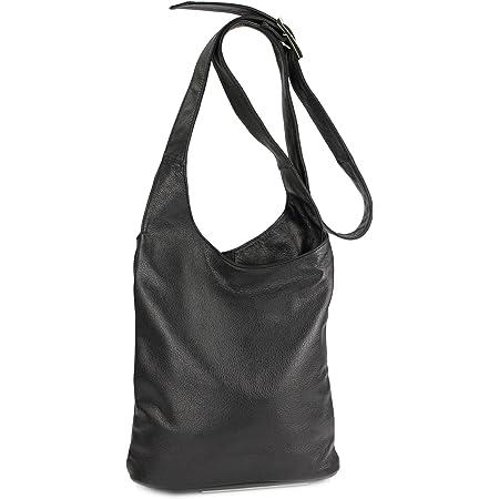 Belli Cross Bag Classic italienische Umhängetasche Damen Ledertasche Handtasche Cross Over Bag in schwarz - 24x28x8 cm (B x H x T)