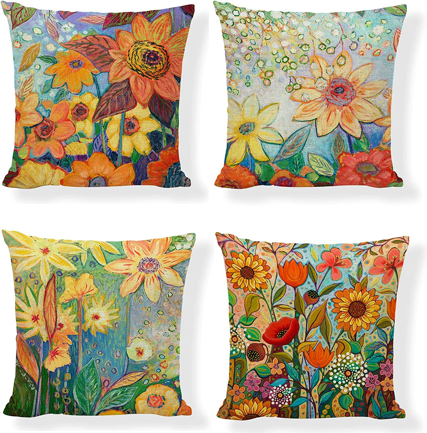 Summer Throw Pillow Covers 18x18 Inch of Farmhouse Dercora Set 4 Latest Max 58% OFF item