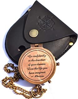 Sara Nautical Thoreau's Go Confidently Quote Engraved Compass with Stamped Leather case Camping Compass Engraved with Gift...