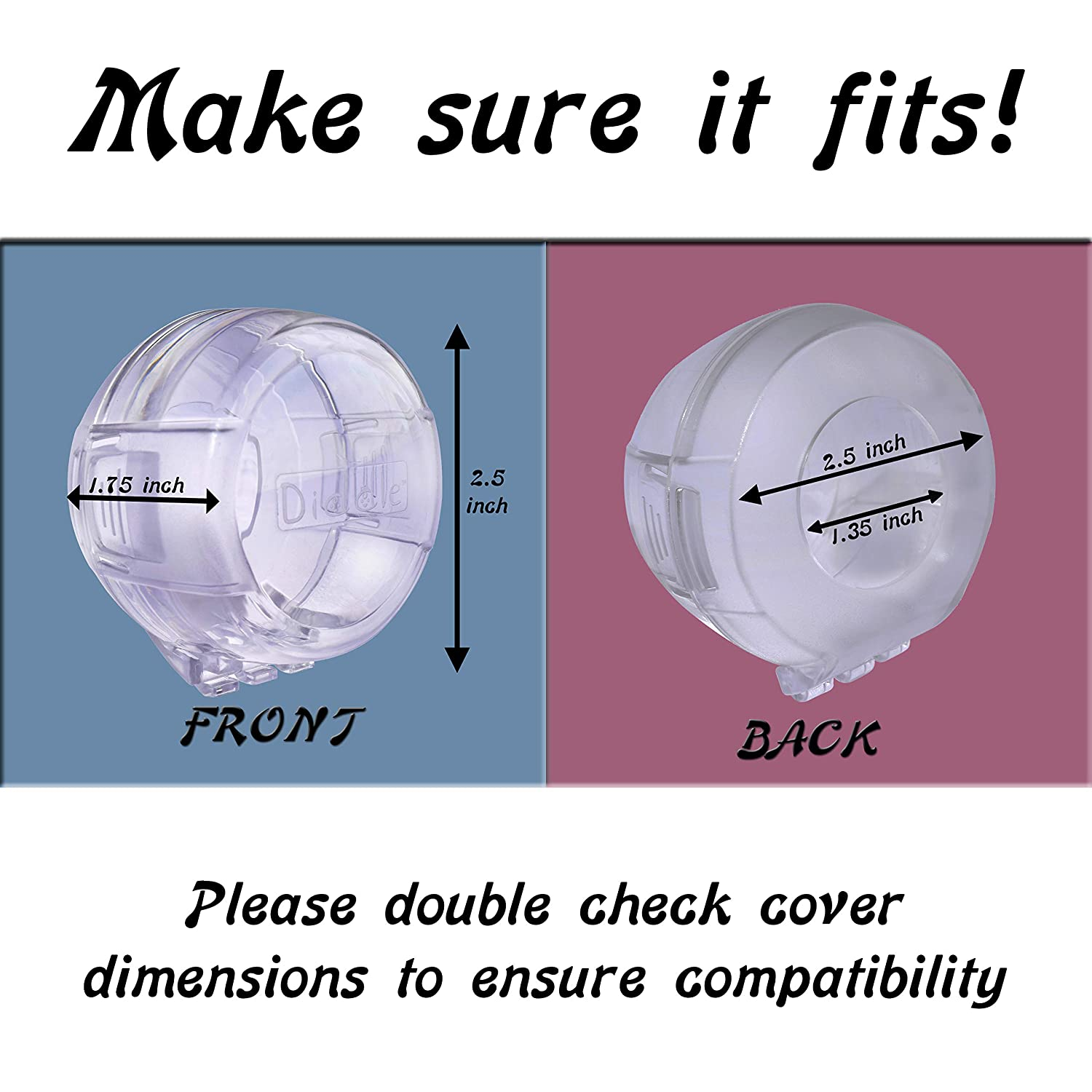6 Pack Clear Stove Knob Safety Covers - Protect Little Kids with A Child Proof Lock for Oven/Stove Top/Gas Range - Baby/Toddler Kitchen Safety Guard - Check Dimensions