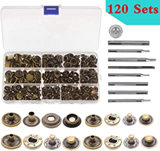 Snap Fastener Kit 100 Sets 4 color Metal Button Press Studs with Fixing Tools for Clothing Leather Bracelet Jeans Wearing Jacket Bags Belts