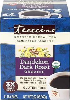 Teeccino Dandelion Tea – Dark Roast Roasted Herbal Tea | Organic Roasted Dandelion Root | Prebiotic | Caffeine Free | Glut...