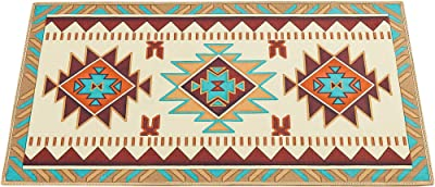 """Traditional Southwest Aztec Printed Accent Rug to Instantly Add Style and Color with Skid-Resistant Backing, 26"""" X 45"""""""