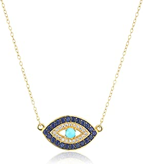 18k Yellow Gold Plated Sterling Silver Stabilized Turquoise with Created Blue and White Sapphire Evil Eye Necklace, 18