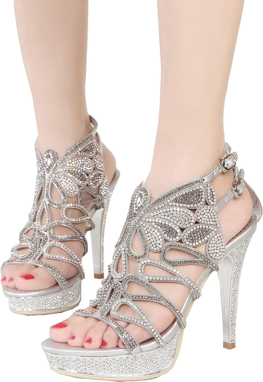 YooPrettyz Platform Prom Wedding Sandals Peep Toe Cutout Evening Stiletto Heels with Shield