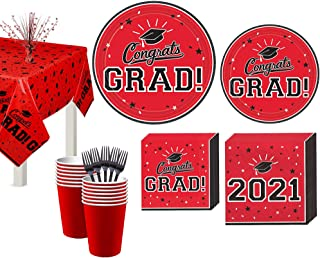 Party City Congrats Grad Red 2021 Graduation Decorations and Supplies for 18 Guests with Plates, Napkins and More