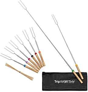 Tripworthy Marshmallow Roasting Sticks with 10 Bamboo Skewers (Kid Friendly) - Set of 8 Stainless Steel Roasting Sticks for Campfire and Fire Pit - Smores, Hot Dogs and More