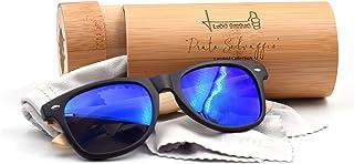 LEMIEL® Xavier - ECO OCCHIALI - Esclusivi occhiali da sole in legno - Aste custodia in bambù - Polarizzati - Retro | Vinta...