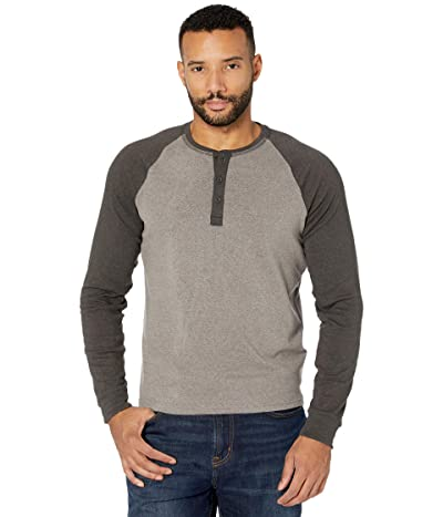The Normal Brand Long Sleeve Retro Puremeso Henley (Grey/Charcoal) Men