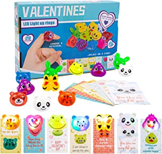 Acekid 28pcs Valentines Day Gift Light Up Rings with Valentines Day Gift Cards, Kids Cartoon LED Jelly Rings Set, Idea for...