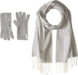 Two-Piece Woven Border Scarf, Knit Touch Gloves