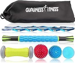 Massage Ball Set & Muscle Roller Massager for Deep Tissue Trigger, Pain Relief, Plantar Fasciitis Foot Recovery - 1 Stretch Strap, 1 Roller Stick, 1 Massage Roller, 2 Spiky Balls & 1 Lacrosse Ball