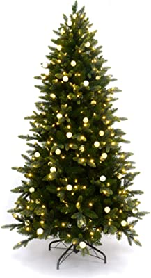 MARTHA STEWART Globe Pre-Lit Artificial Christmas Tree, 7 Feet, Clear White Lights