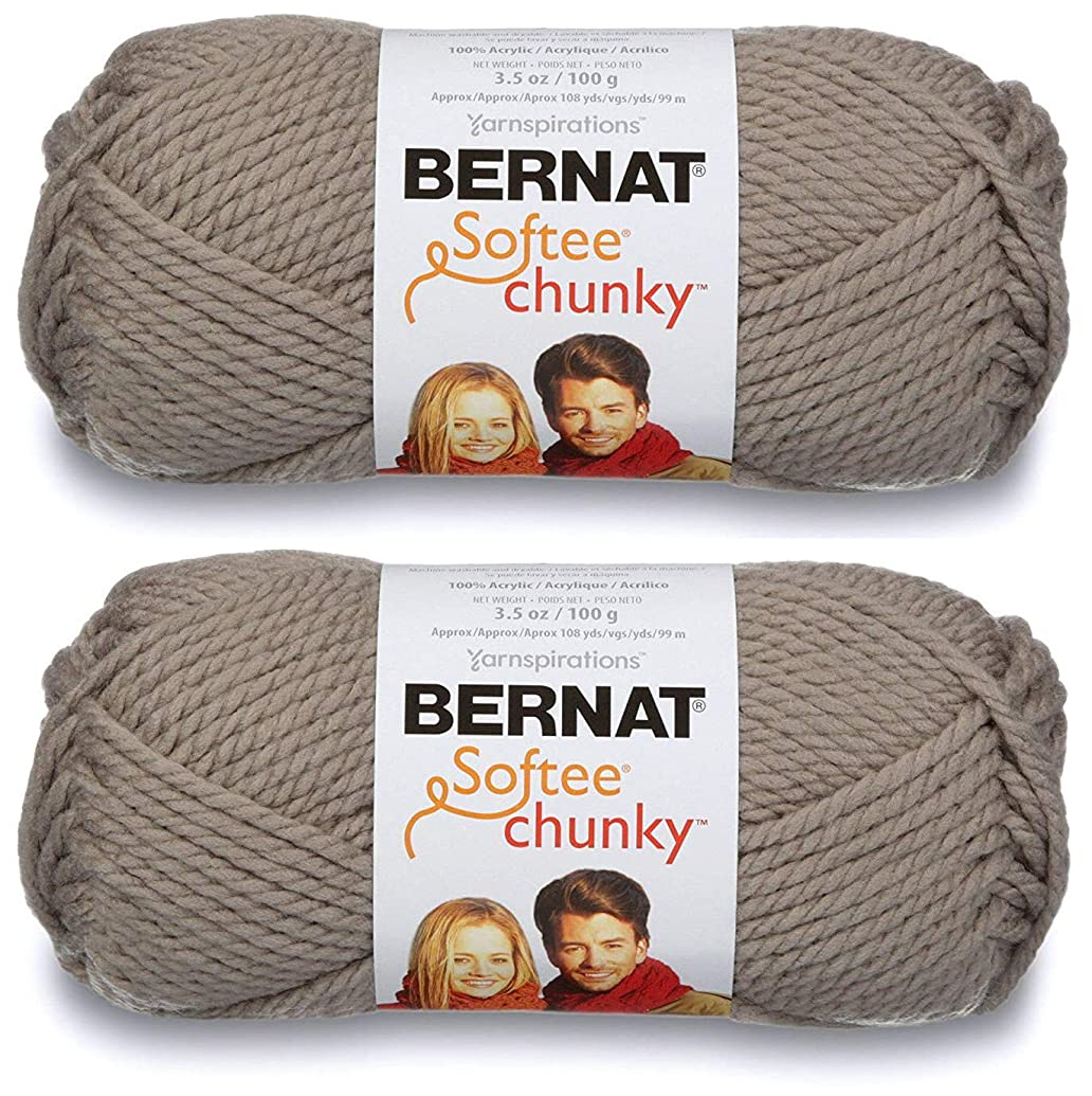 2-Pack - Bernat Softee Chunky Yarn, Clay, Single Ball
