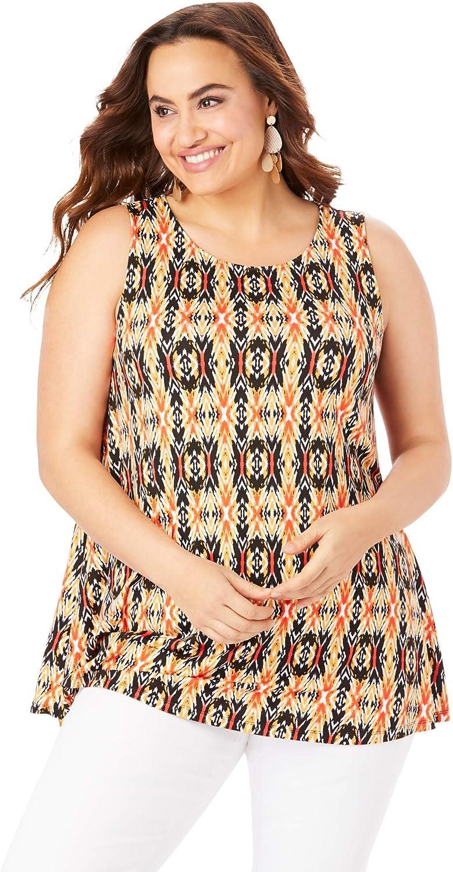 Jessica London Women's Plus Size Sleeveless Swing Tunic Long Shirt