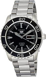 5 SNZH55 Automatic Black Dial Stainless Steel Mens Watch