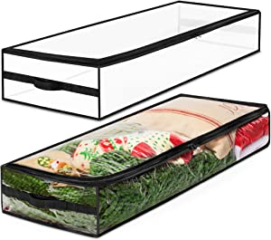 Christmas Underbed Decorations Storage Bag Organizer, Space Saver Xmas Storage Container for Wrapping Paper Storage & Giftwrap Rolls, 40 Inch Long for Blankets, Comforters, Bedding & Seasonal Clothing