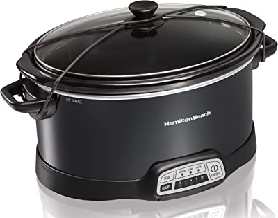 Hamilton Beach Programmable Slow Cooker, 7-Quart with Lid Latch Strap, Black (33474) (Renewed)