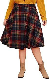 ROMWE Women's Plus Size Mid Waist Midi Skirt Zip Side A-line Plaid Winter Warm Flare Long Skirt