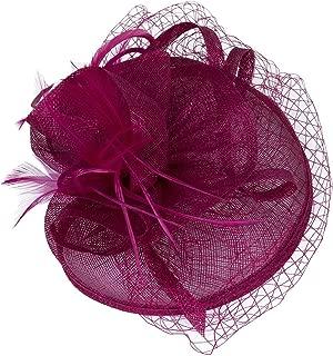 Women Vintage Derby Fascinator Hat with Veil Pillbox Headband Feather Cocktail Tea Party