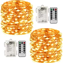 LightsEtc 8 Modes 2 Pack 33 Feet 100 Led Fairy String Lights with Battery Remote Timer Control Operated Waterproof Copper ...