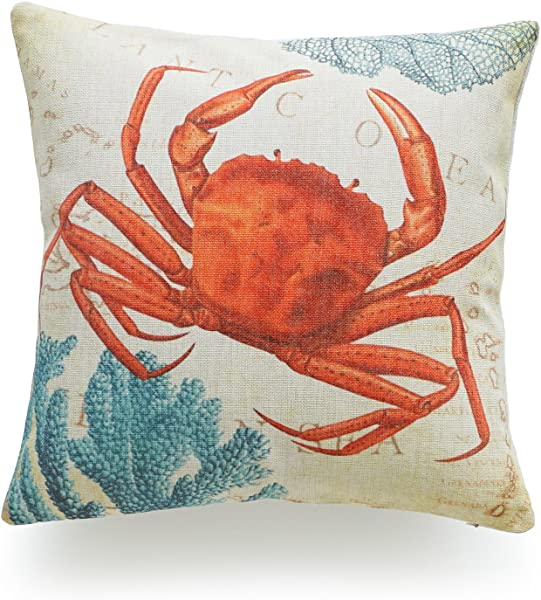 Hofdeco Decorative Throw Pillow Cover Heavy Weight Cotton Linen Vintage Caribbean Sea Life Crab Coral 18 X18 45cm X 45cm