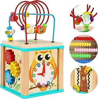 TOWO Wooden Activity Cube Beads Maze -5 Activities Roller Coaster Abacus Cog Wheels Gears Clock Zig Zag Slide-Early Educat...
