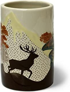Veratex Mountain View Collection Contemporary Rustic Style Patterned Ceramic Bathroom Tumbler, Tan