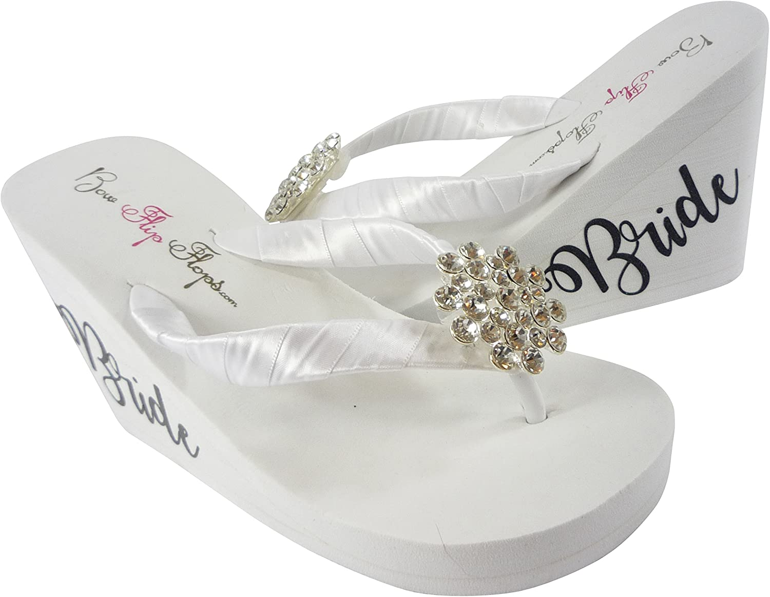 Fancy Bride High Wedge Flip Flops with Jewel Embellishment