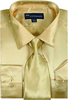Satin Classic Dress Shirts with Tie & Hankie SG08 , 14 Colors
