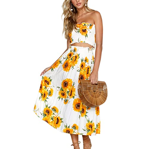1199e83edb Angashion Women's Floral Crop Top Maxi Skirt Set 2 Piece Outfit Dress