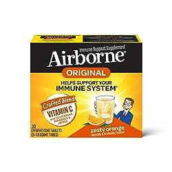 Vitamin C 1000mg - Airborne Zesty Orange Effervescent Tablets (30 count in a box), Gluten-Free Immun