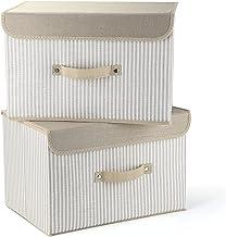 EZ GENERATION Storage Bins Set, Storage Baskets Pack of 2 Foldable Storage Boxes Cubes with Lids, Fabric Storage Bin Organ...