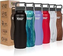 Healthy Human Water Bottle Curve, BPA Free Metal Stainless Steel Sports Water Bottles, Durable Leak Proof Insulated Waterbottle Flask