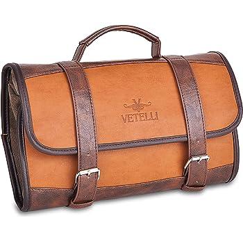 Vetelli Men's Hanging Toilet/Toiletry Bag - Dopp Kit, Wash Bag/Travel Accessories Bag One Size Brown.