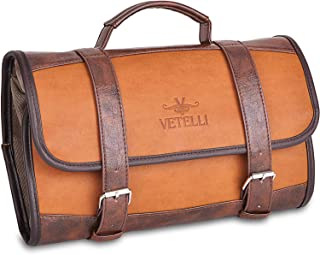 Hanging Leather Toiletry Bag for Men, Perfect For Travel, Extra Storage, Water Resistant