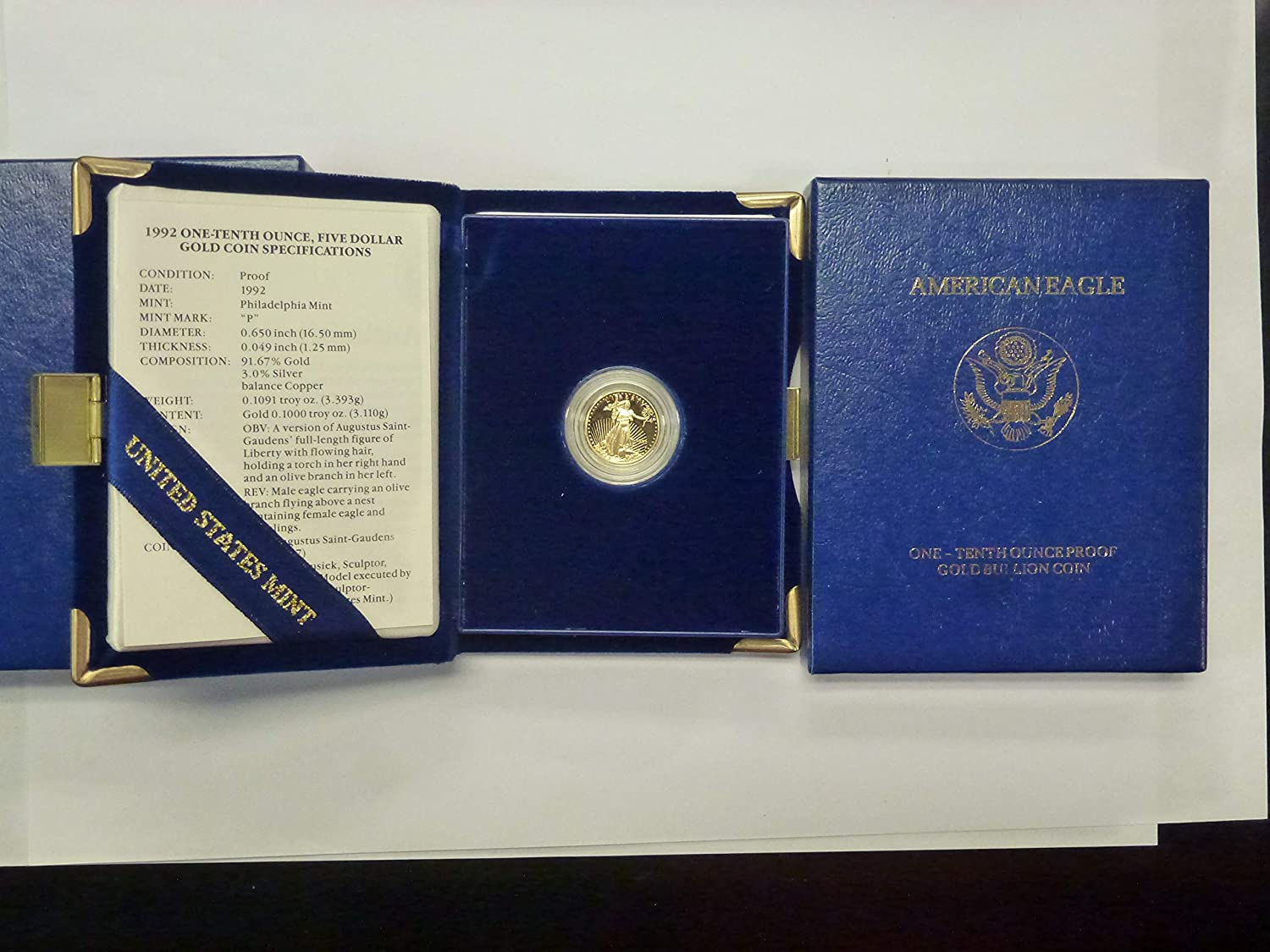 1992 P American Seattle Mall Eagle One-Tenth Ounce Classic $5 Gold Mint Proof US