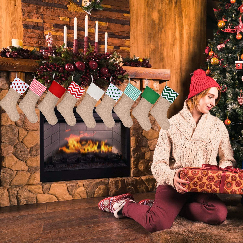 Sunshane Weihnachsstrumpf Sackleinen Kamin Weihnachtssocken zum Bef/üllen /& Aufh/ängen f/ür Weihnachtsdeko Oder DIY Flachs, 5