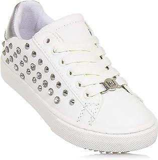 7ec1f3d49d45aa Liu Jo - Sneaker Stringata Bianca, in Ecopelle, con Logo Anteriore, Bambina,