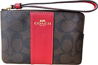 Signature PVC and Leather Corner Zip Wristlet (Brown Ruby)